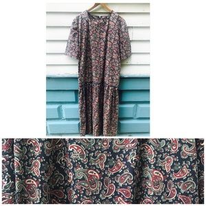 XXL 1980's Floral Dress Plus Size 80's Paisley